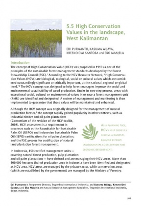 High Conservation Values in the landscape, West Kalimantan