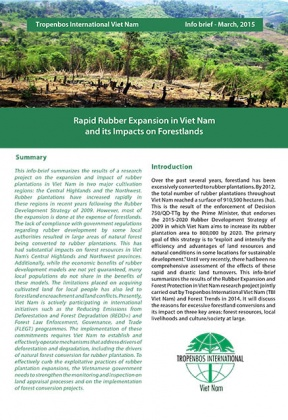 Rapid Rubber Expansion in Viet Nam and its Impacts on Forestlands