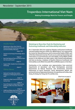 Tropenbos International Viet Nam Newsletter - September 2015