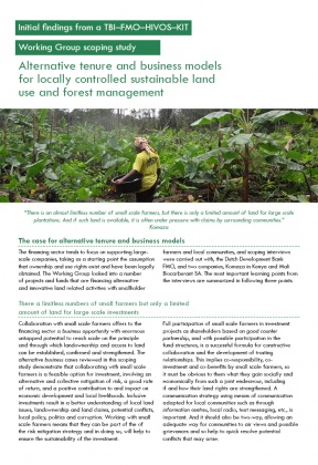 Alternative tenure and business models for locally controlled sustainable land use and forest management