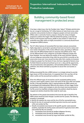 Building community-based forest management in protected areas