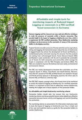 Affordable and simple tools for monitoring impacts of selective logging on mammals in a FSC certified forest concession in Suriname