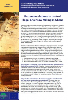 Recommendations to control illegal chainsaw milling in Ghana.