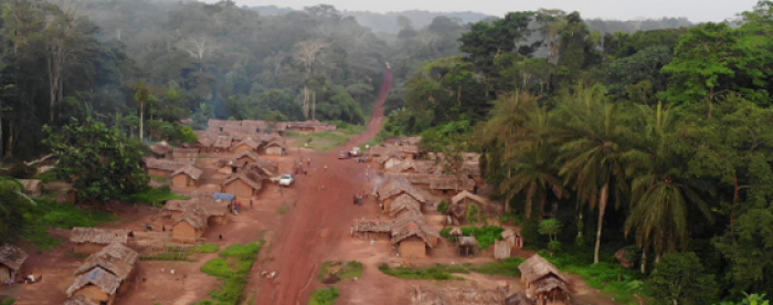 SUB: Aerial view of one of the intervention zones, in Baliko village, Bekeni Kondolole, Bafwasende territory, Tshopo Province. Photo: Tropenbos DR Congo